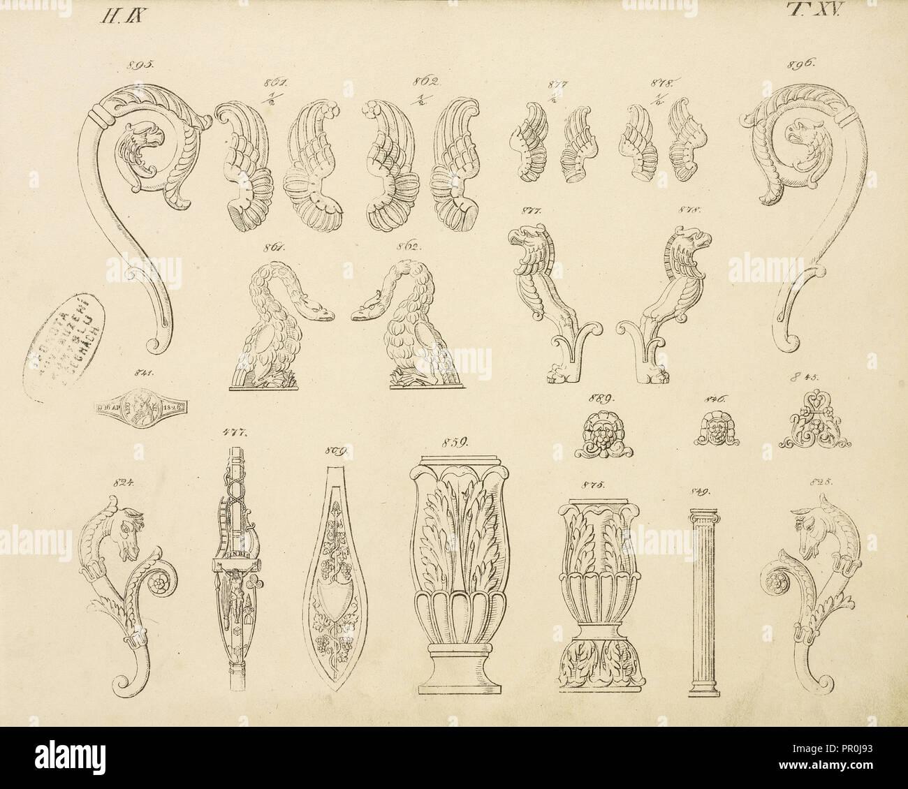 Animal and floral ornaments, Abbildungen von geprägten Ornamenten: Heft I-XII, Bruckmann, Peter, Engraving, between 1815 - Stock Image