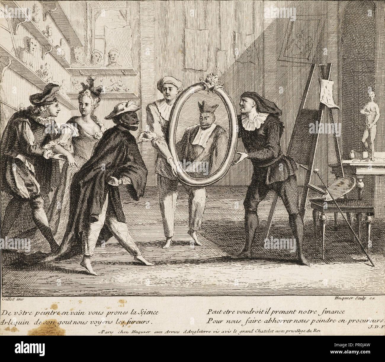 De vôtre peintre en vain, Italian theater prints, Gillot, Claude, 1673-1722, Huquier, Gabriel, 1695-1772, Etching, ca. 1729 - Stock Image