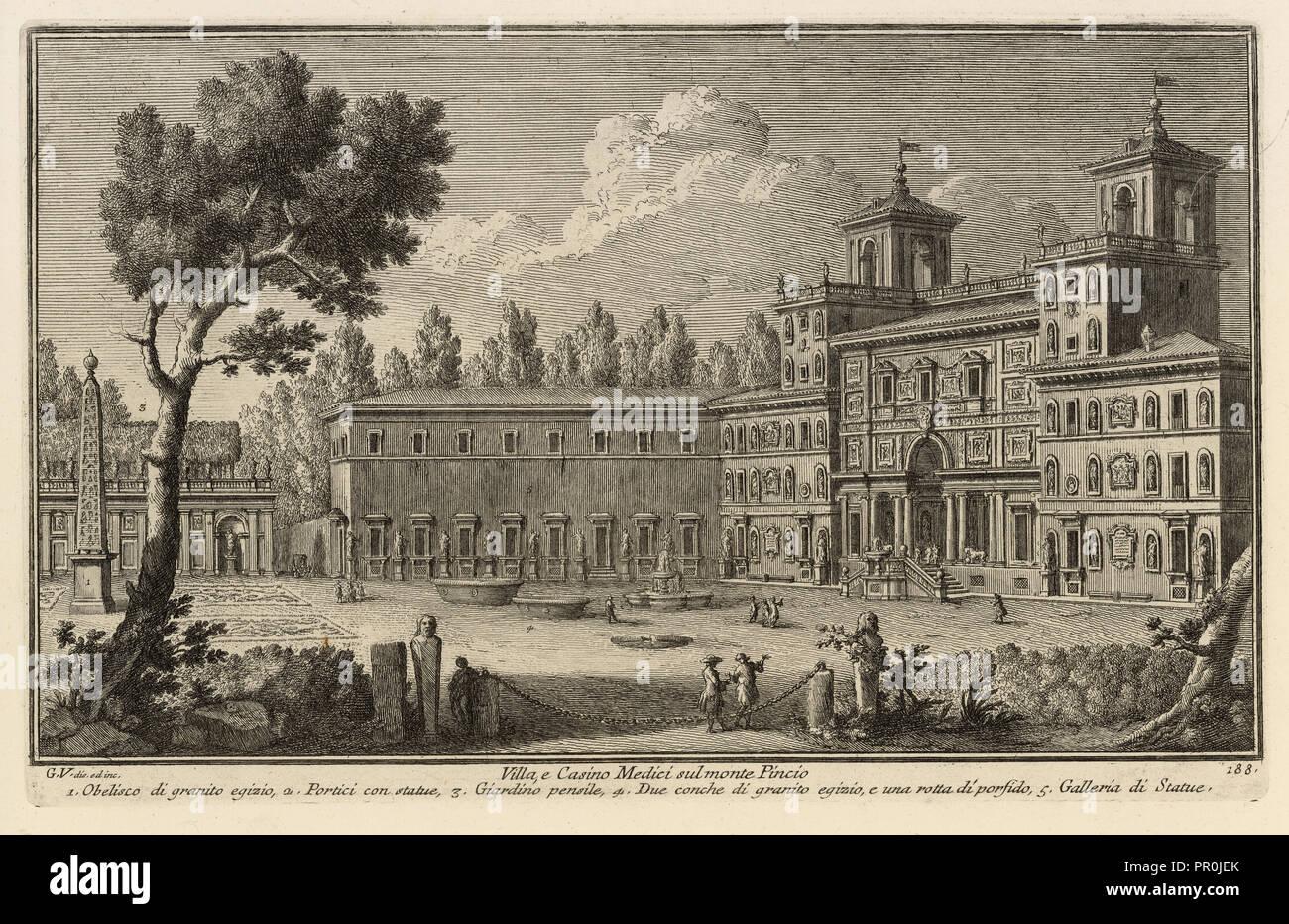 Villa, e Casino Medici sul monte Pincio, Delle magnificenze di Roma antica e moderna, Vasi, Giuseppe, 1710-1782, Engraving - Stock Image