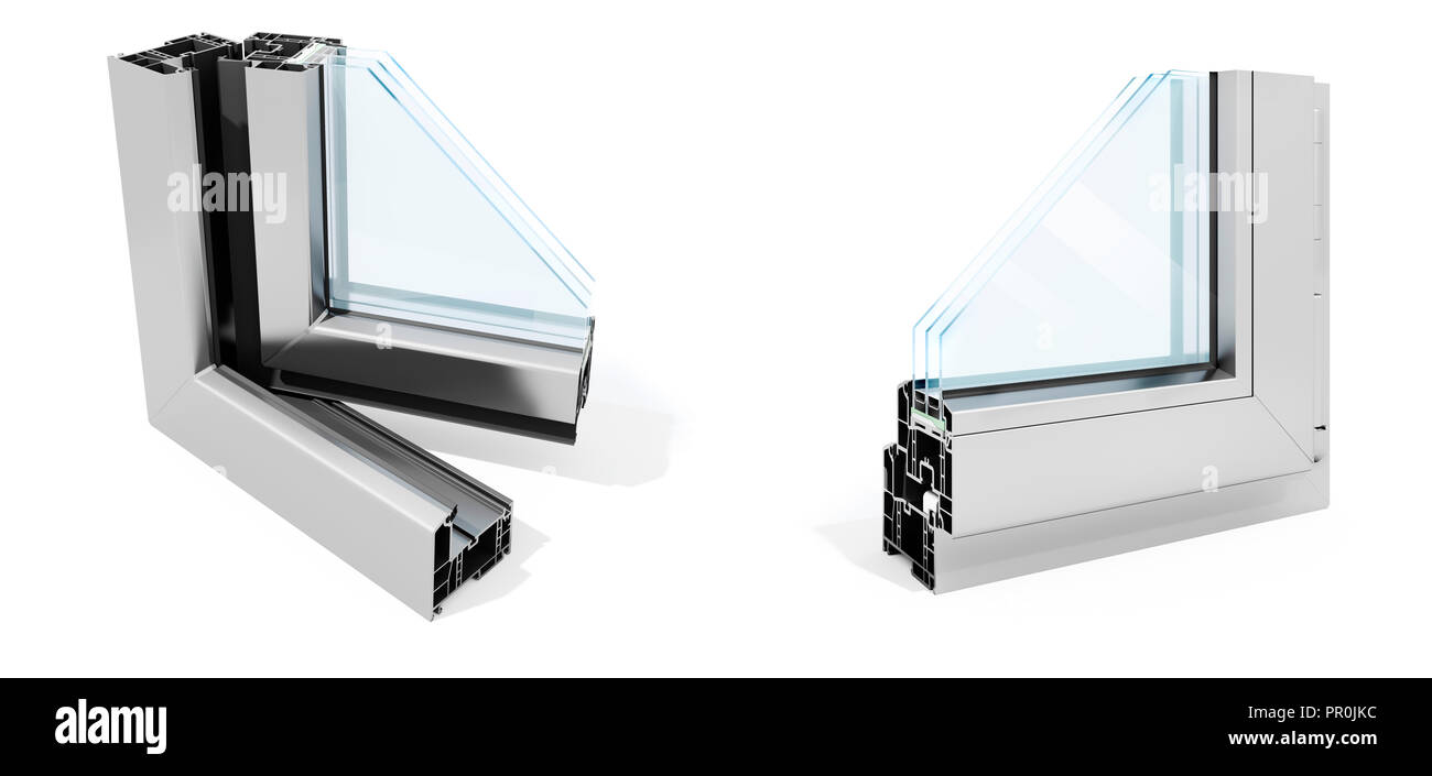 3d detailed window frame profile section, on white background Stock ...