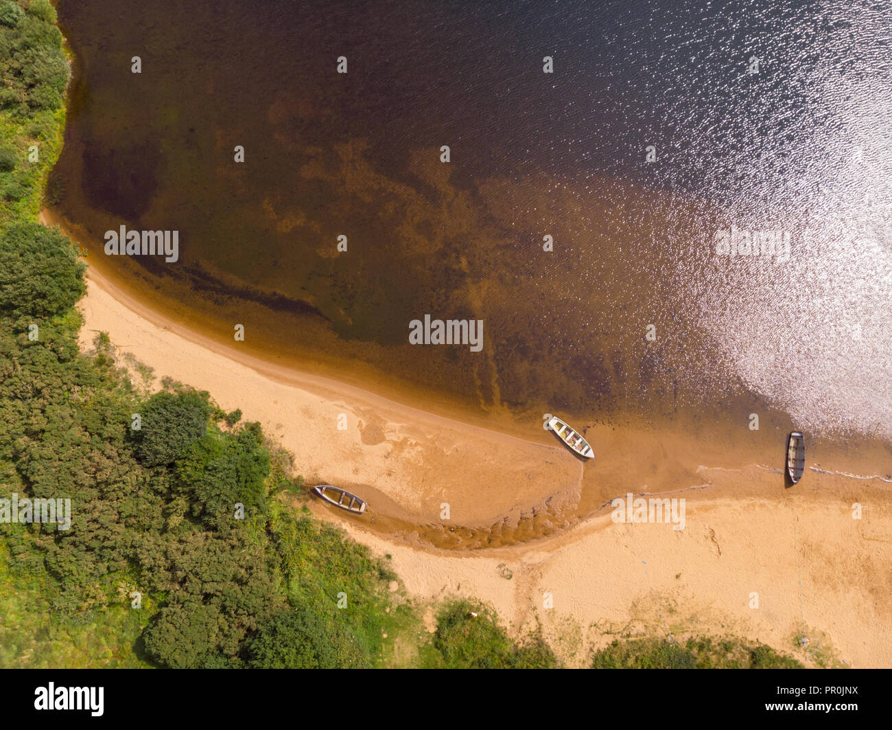 An aerial view of the beach of scenic Lough Nafooey in the Connemara region of Ireland. Stock Photo