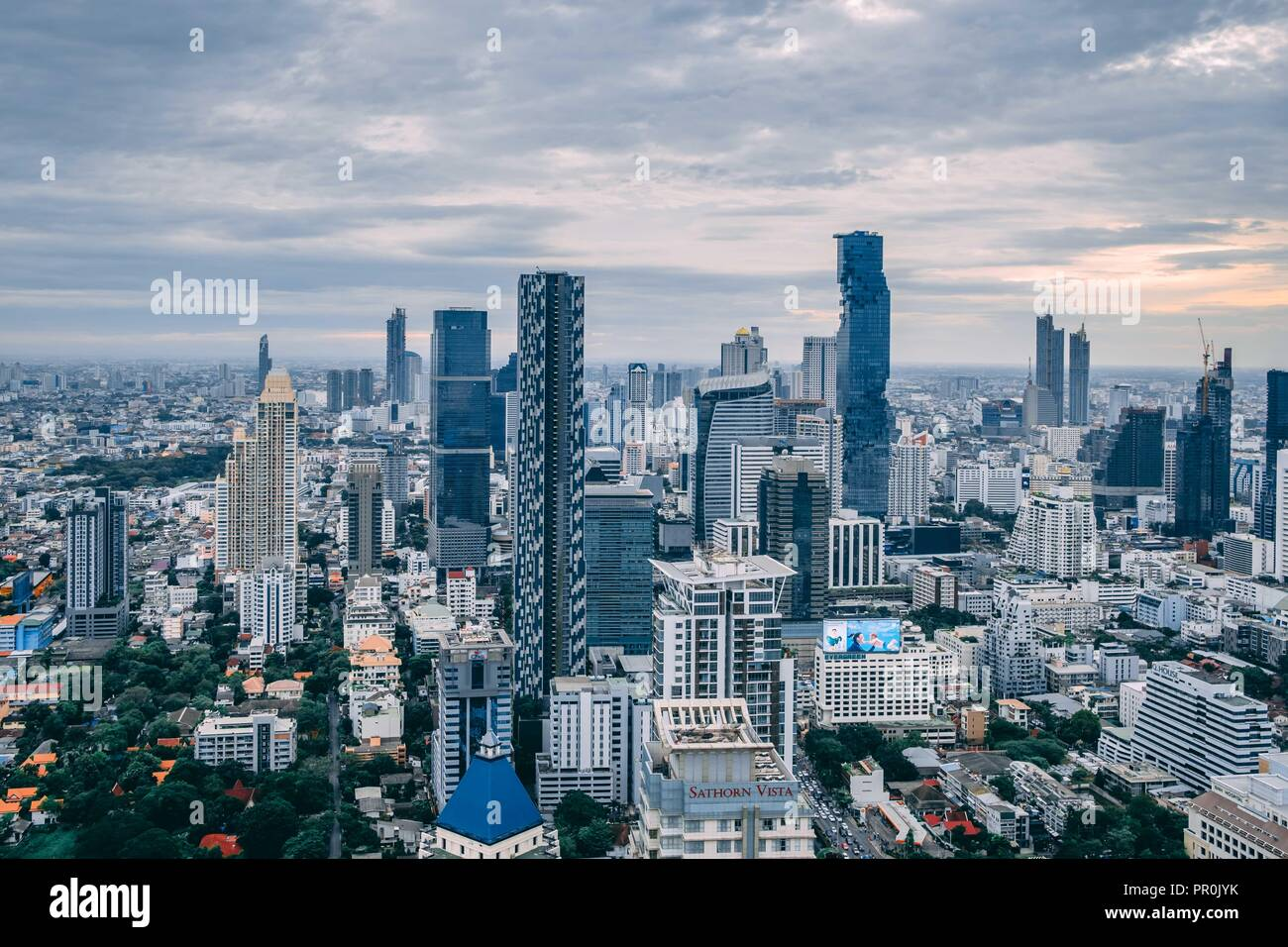View of Bangkok CBD, Thailand, from the Moon Bar in the Sathorn District - Stock Image