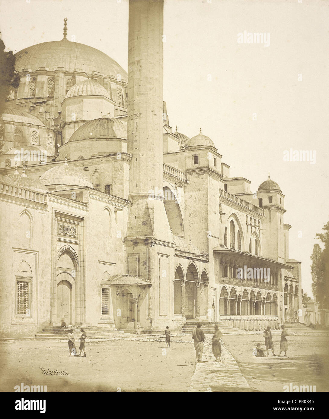 Building with Colonnade, Constantinople; James Robertson, English, 1813 - 1888, Attributed to Felice Beato English, born Italy - Stock Image