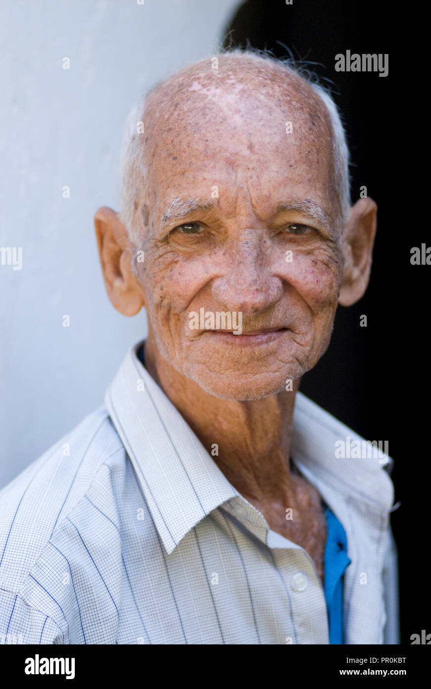 portrait of an old Cuban man in Santiago de Cuba Northern Caribbean Island America - Stock Image