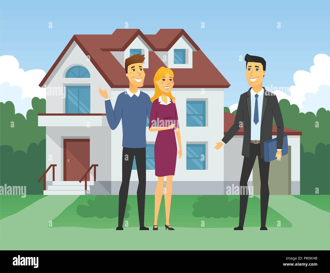 Real estate agency - cartoon people characters illustration - Stock Vector