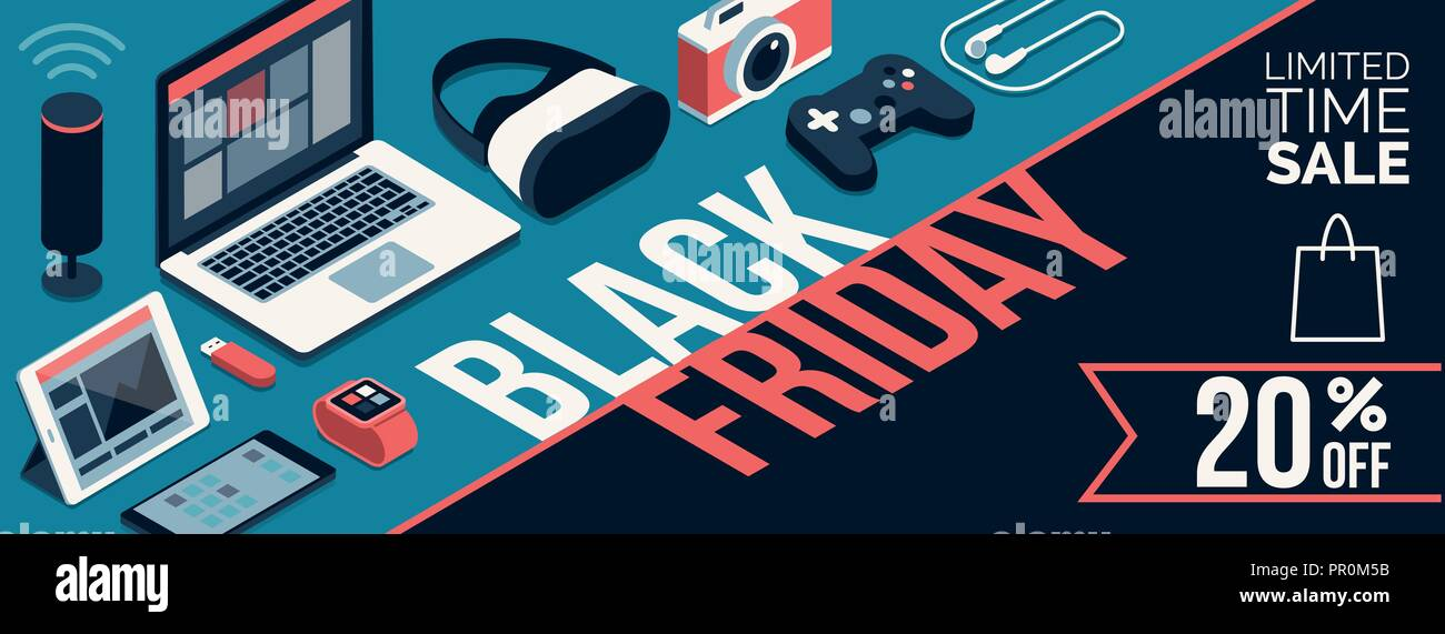 Black Friday Promotional Sale Shopping Banner With Products And Discount Electronics Computers And Touch Screen Devices Stock Vector Image Art Alamy