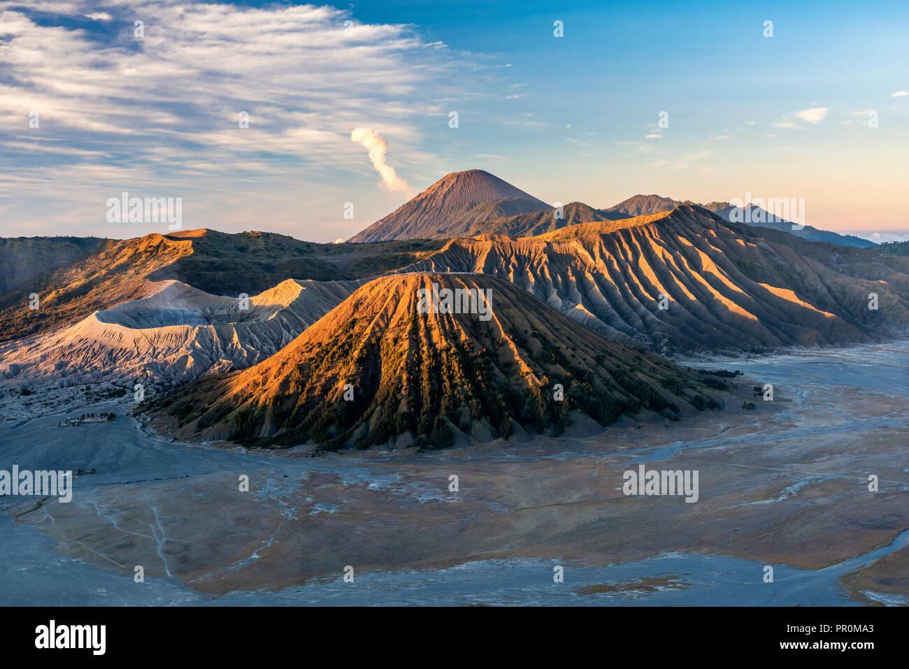 Mountains Bromo, Semeru, Batok and Widodaren, Bromo Tengger Semeru National Park, Java, Indonesia - Stock Image