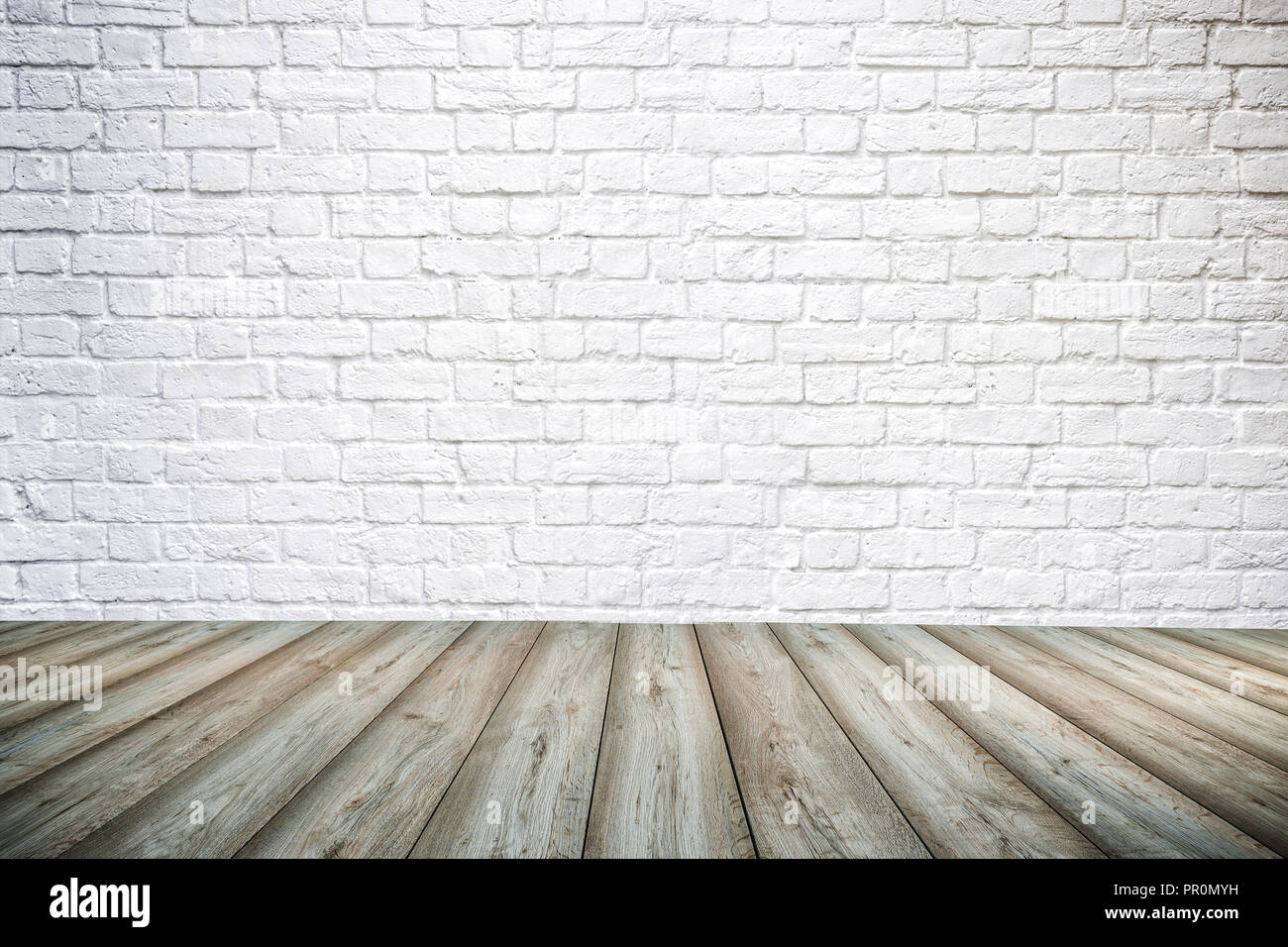 3d Interior Background With White Brick Wall And Wooden Floor Stock Photo Alamy