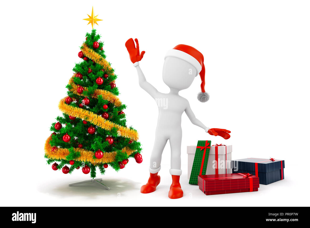 Christmas Tree White Background.3d Man Santa Claus With Christmas Tree And Presents On White