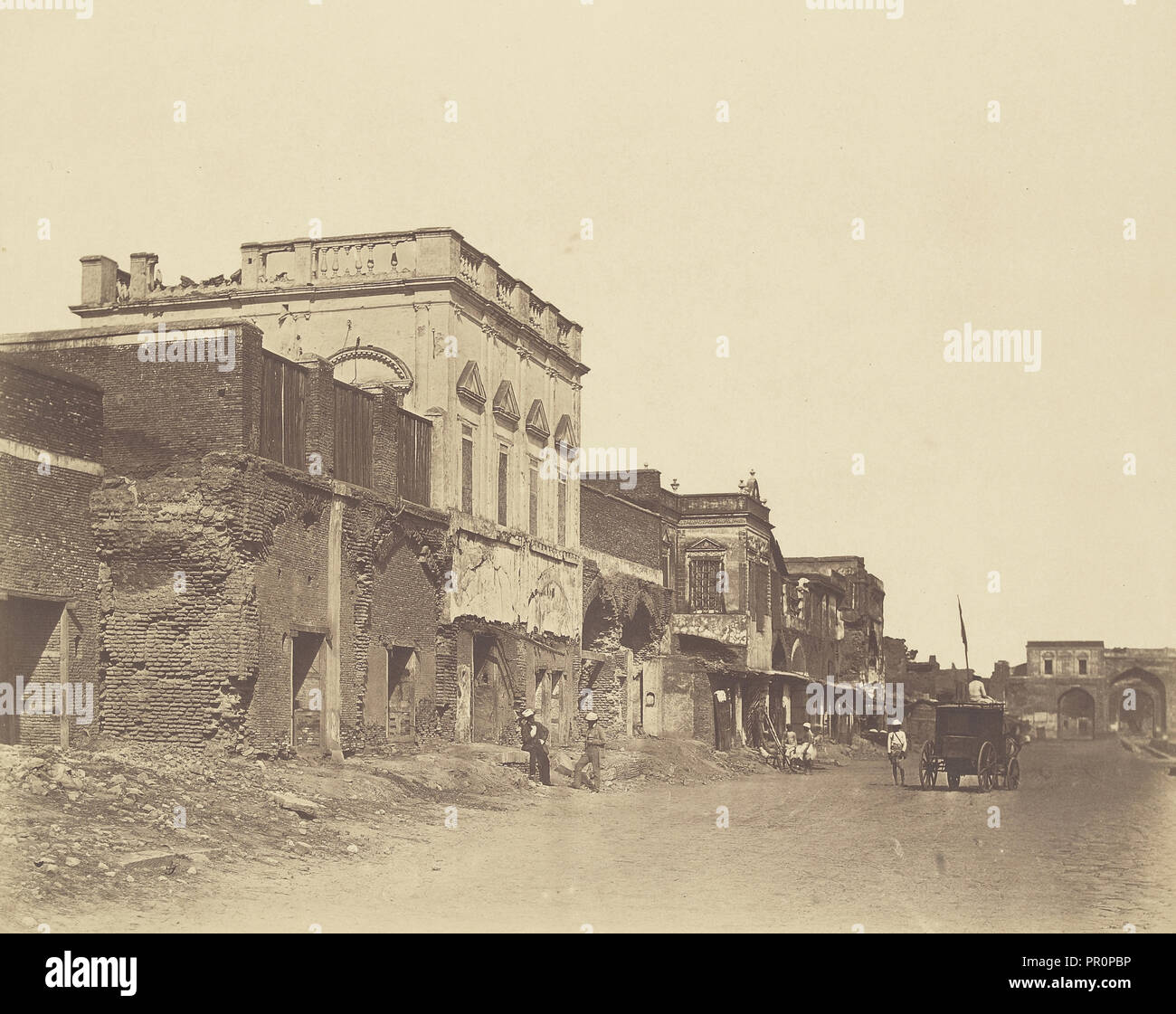 House in Which the King was Confined in the Palace; Felice Beato, 1832 - 1909, Delhi, India; 1858; Albumen - Stock Image
