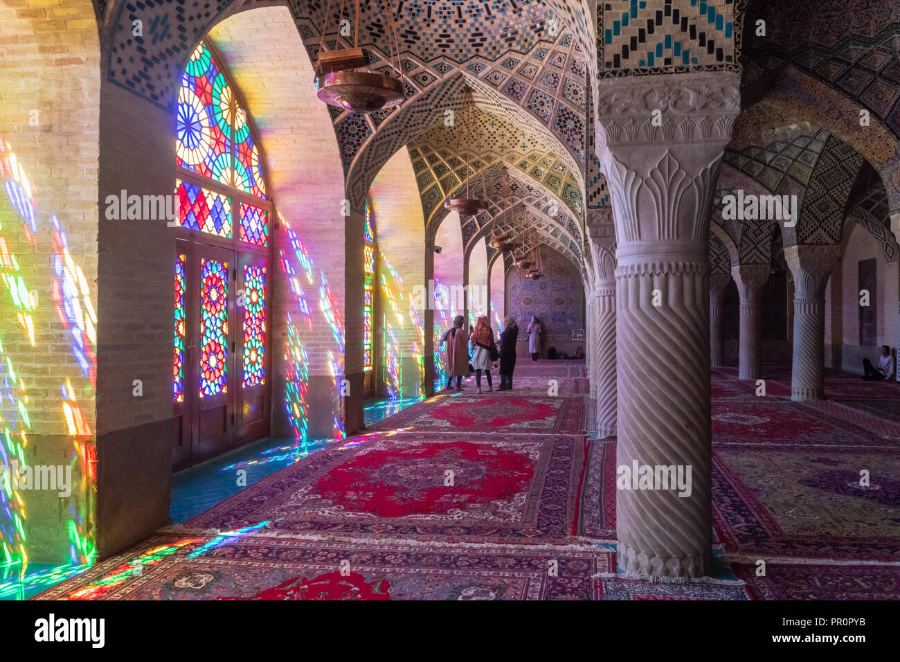 Shiraz, Iran - June 2018: Inside of Nasir ol Molk Mosque also known as Pink Mosque, one of the most famous mosques in Shiraz - Stock Image
