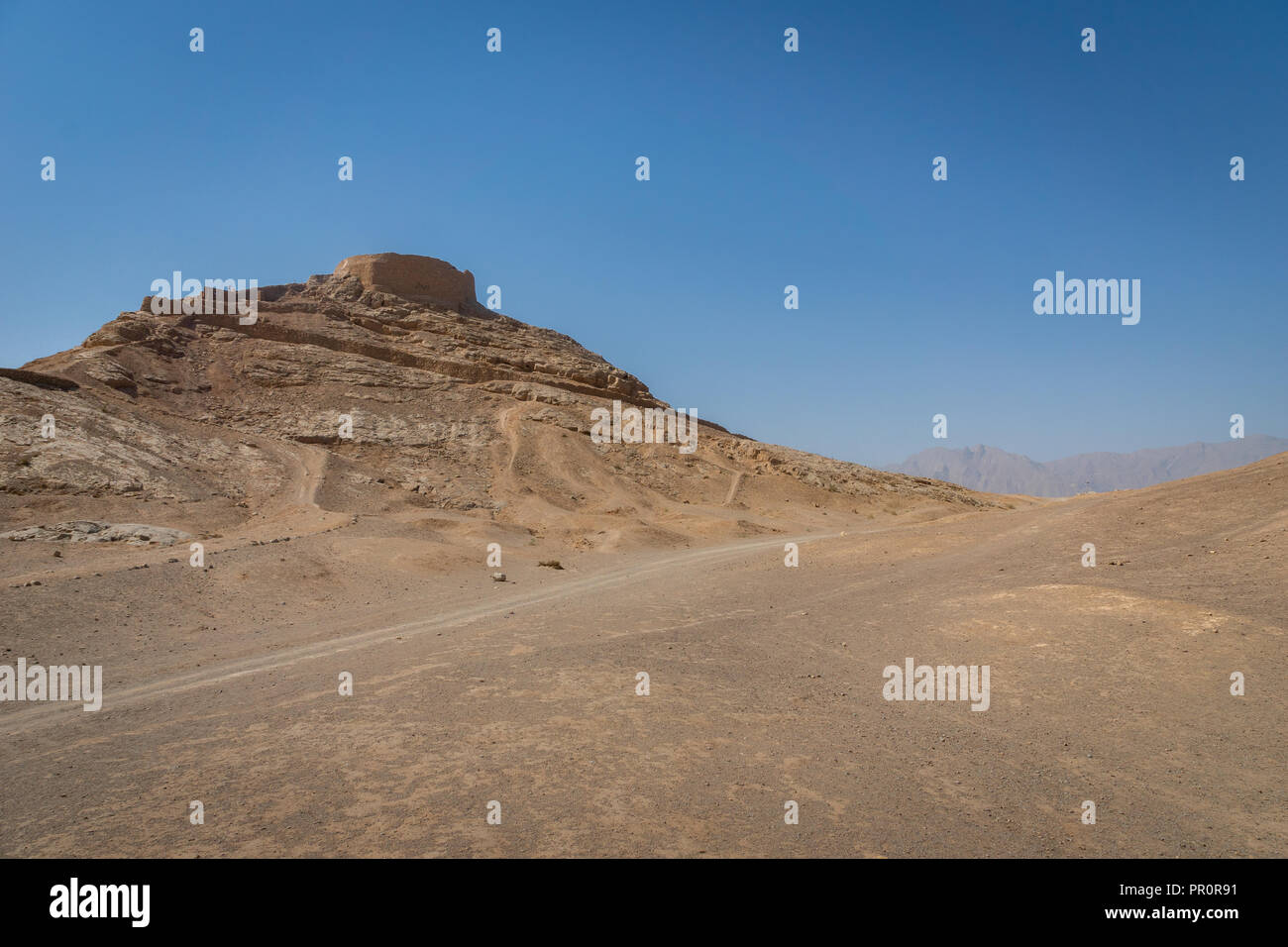 Tower of Silence, ancient zoroastrian mountain religious site in Yazd, Iran Stock Photo