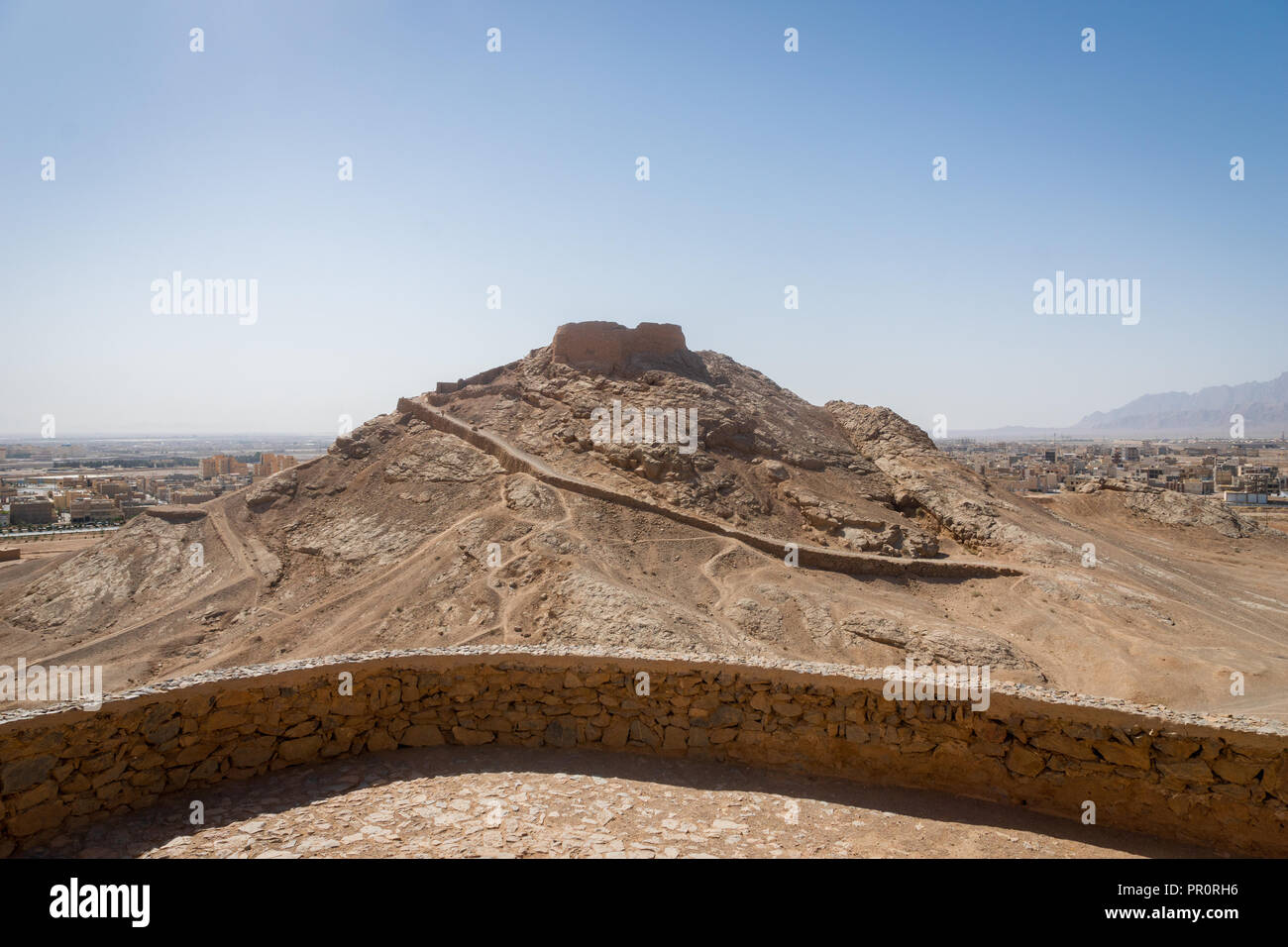 Tower of Silence, ancient zoroastrian mountain religious site in Yazd, Iran - Stock Image