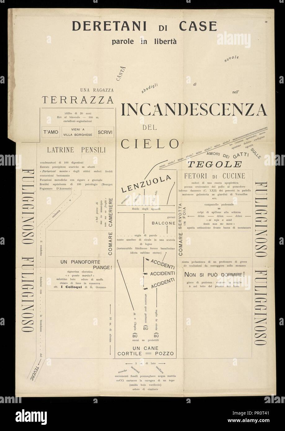 Backsides of Houses, Archi voltaici: parole in libertà e sintesi teatrali, Fani Ciotti, Vincenzo, 1888-1927, Relief print, 1916 - Stock Image
