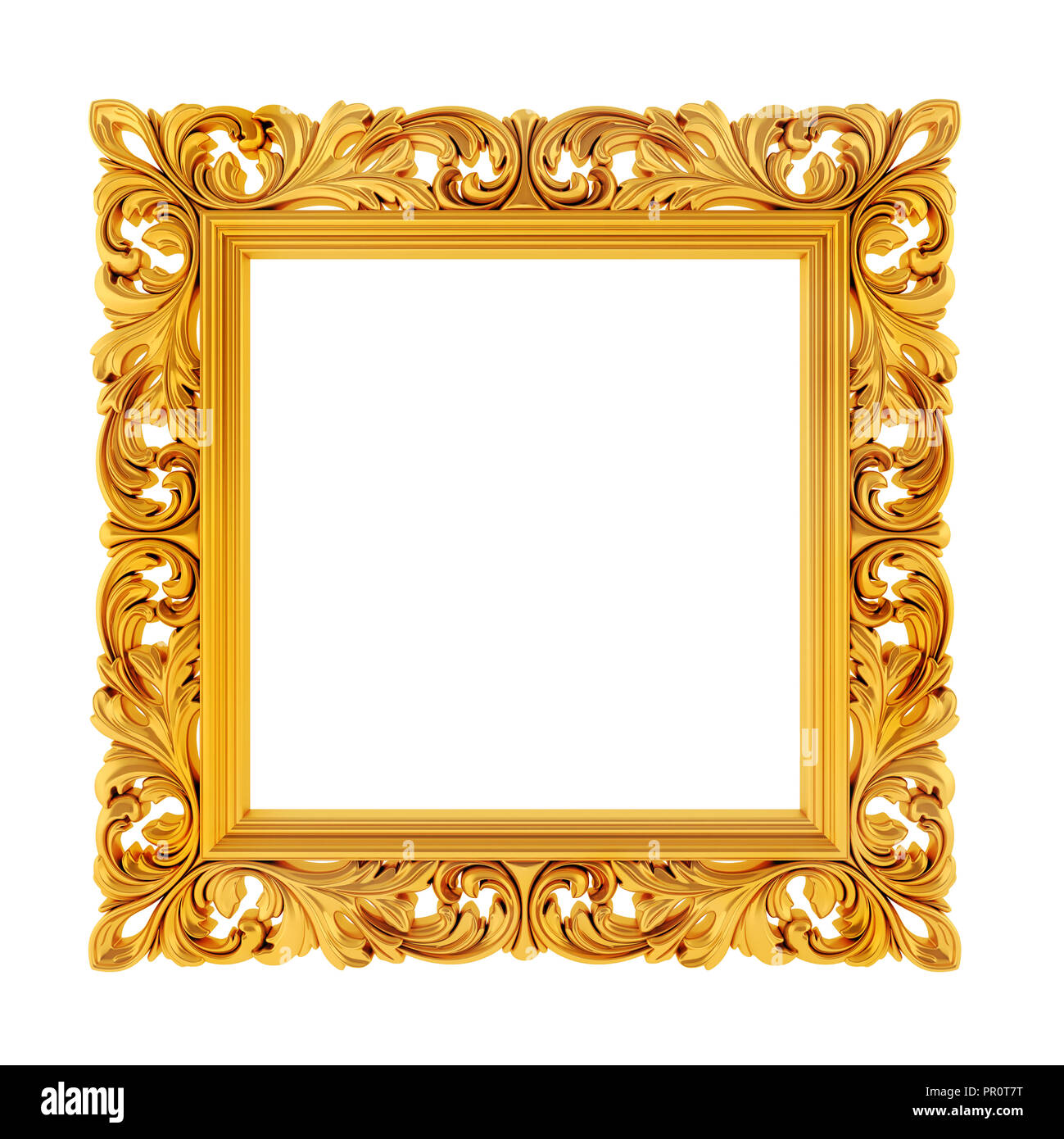 3d gold frame on white background Stock Photo: 220680540 - Alamy