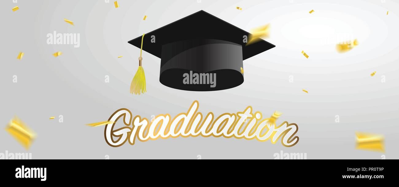 Graduate Caps And Gold Confetti Stock Vector Art Illustration