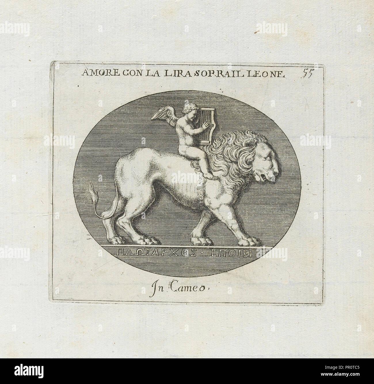 Amore Con La Lira Sorrail Leone: In Cameo, Le gemme antiche figurate, Agostini, Leonardo, 1593-ca. 1670, Bellori, Giovanni - Stock Image