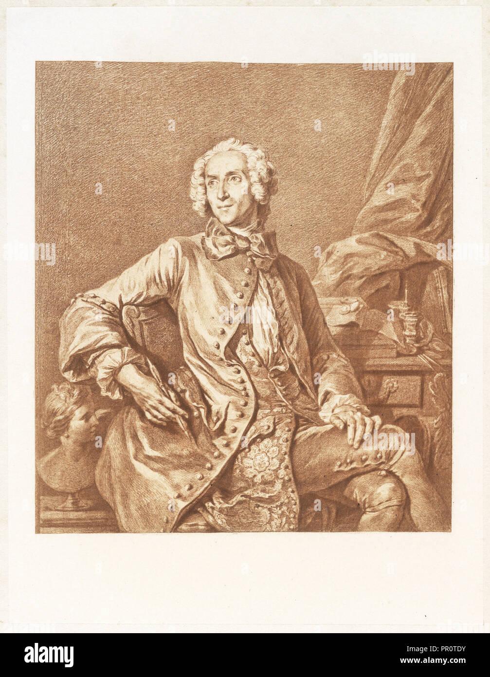 Self-portrait of the artist, Un artiste oublié: J. B. Massé, peintre de Louis XV, dessinateur, graveur, Massé, Jean Baptiste - Stock Image