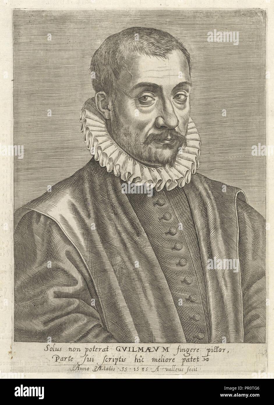 Portrait of the author, Tables anatomiques, avec les pourtraicts et declaration d'iceulx: ensemble un denombrement de cinq cens - Stock Image