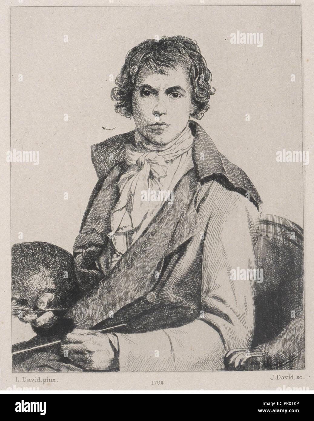 David par lui-même, 1794, Le peintre Louis David, 1748-1825, David, Jacques Louis Jules, 1829-1886, Engraving, 1880-1882 - Stock Image