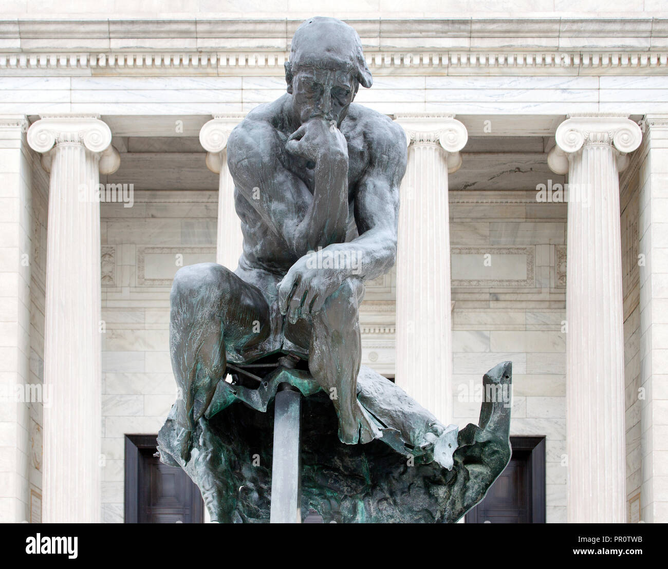 Thinker statue was bombed in Cleveland, Ohio - Stock Image