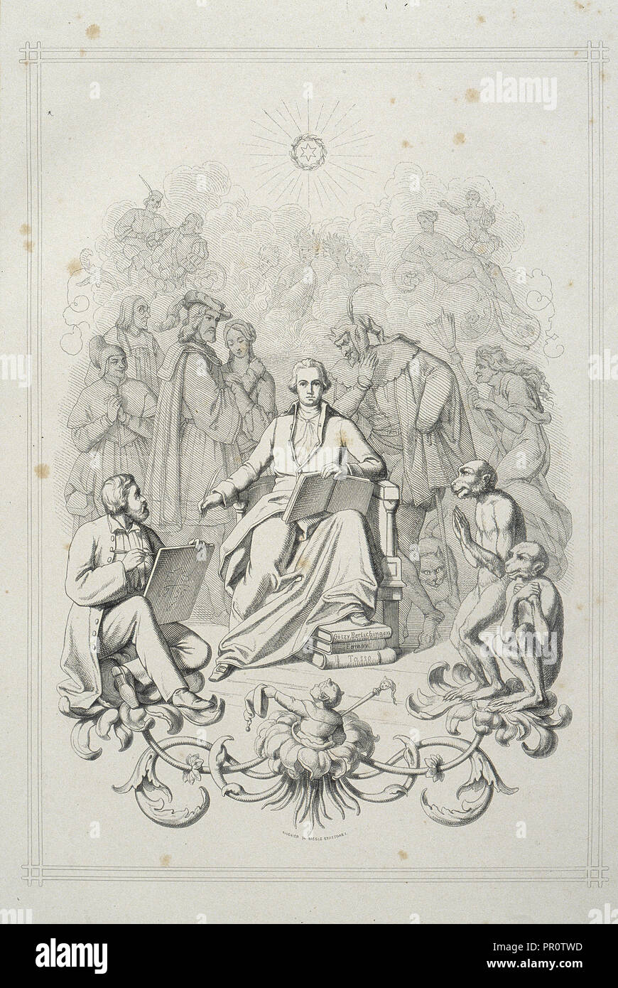 Frontispiece: portrait of Goethe with his characters, Faust: eine Tragödie von Goethe: erster Theil, Goethe, Johann Wolfgang von - Stock Image