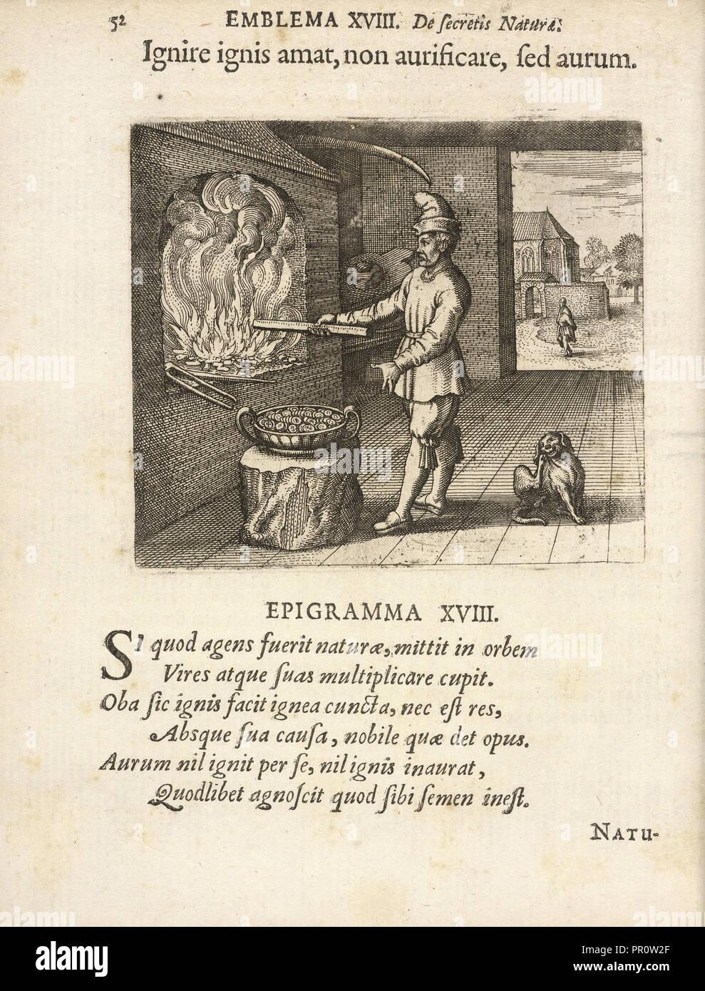 Emblema XVIII: Ignire ignis amat, non aurificare, fed aurum. Michaelis Majeri, Secretioris naturae secretorum scrutinium Stock Photo