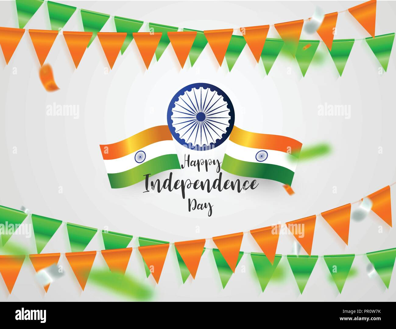 Green Orange Flags Confetti Concept Design Independence Day India