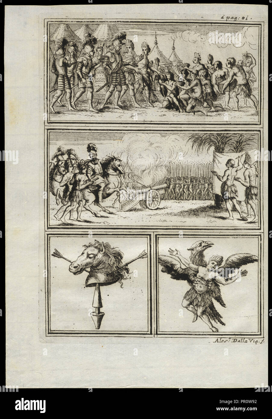 Cortés greeted by indigenous people, Battle scene with firing a cannon, Symbolic image of horse's head, Image of Montezuma - Stock Image