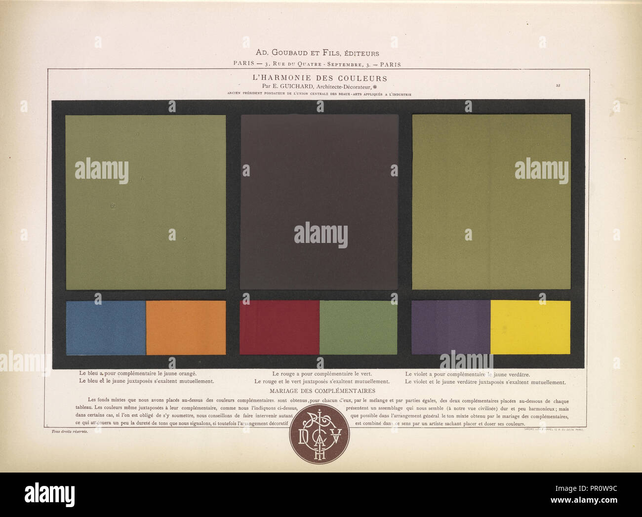 Complimentary colors blue and orange, red and green, purple and yellow, L'harmonie des couleurs, Guichard, Édouard, b. 1815 - Stock Image