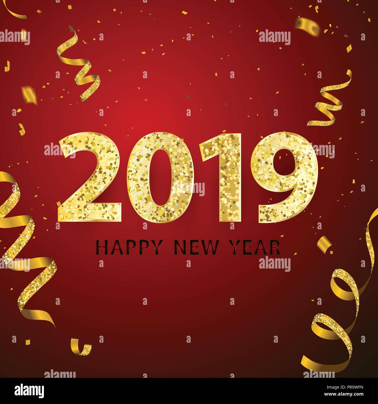 happy new year 2018 background greeting card design template gold confetti celebrate brochure or flyer