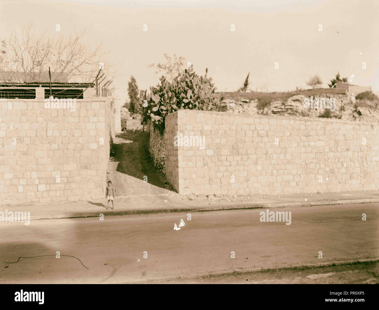 Newer Jerusalem Street and wall with opening. 1920, Jerusalem, Israel Stock Photo