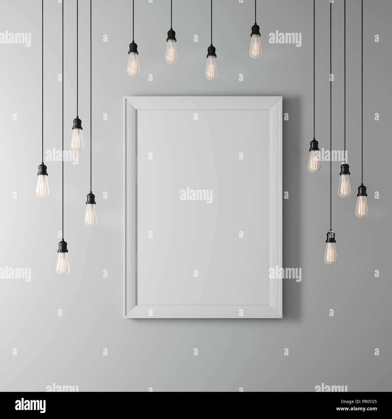 3d blank poster and light bulbs stock photo 220682733 alamy