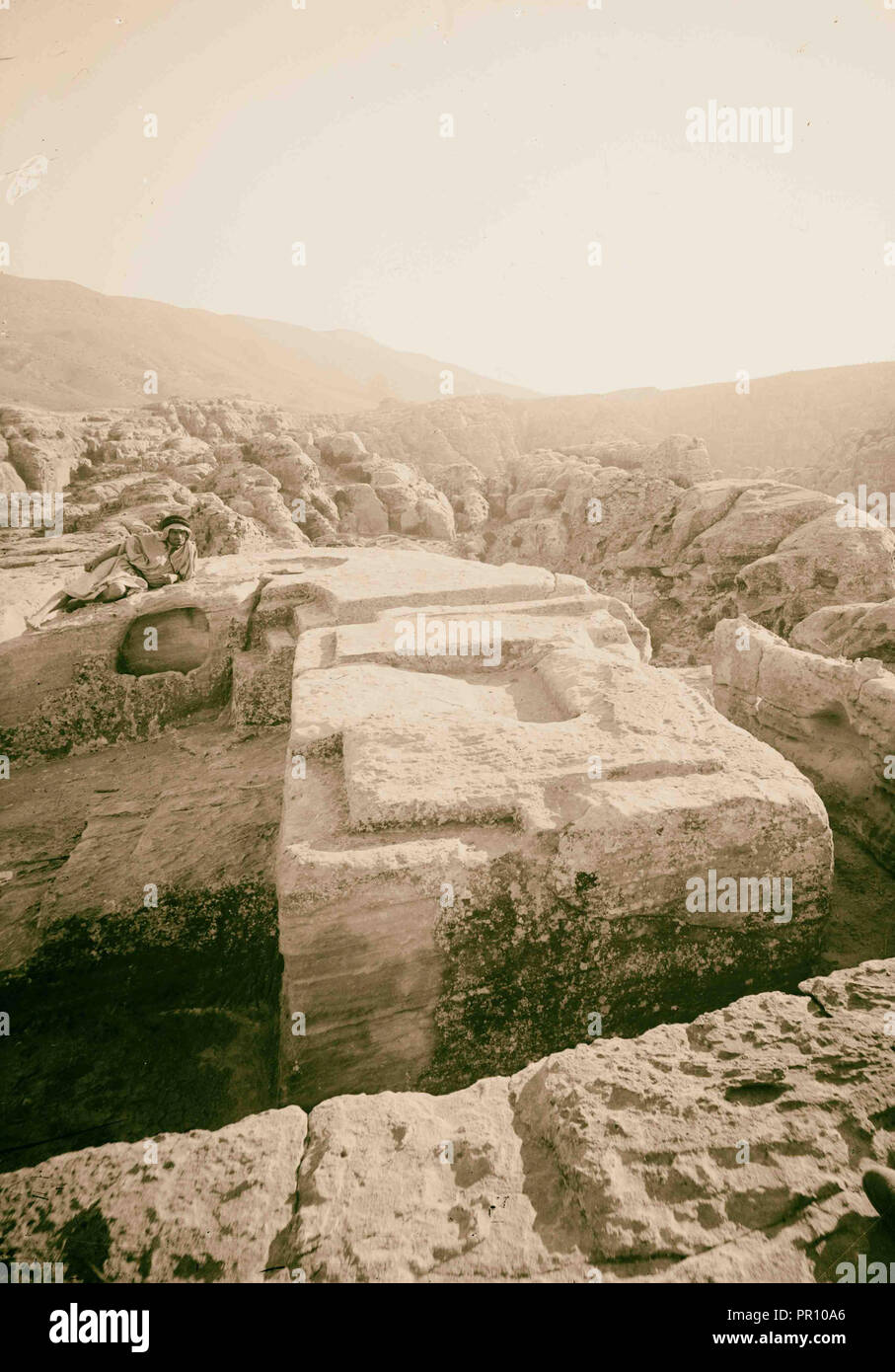 Petra in Transjordan. Tops of altars for sacrificing. 1900, Jordan, Petra, Extinct city - Stock Image