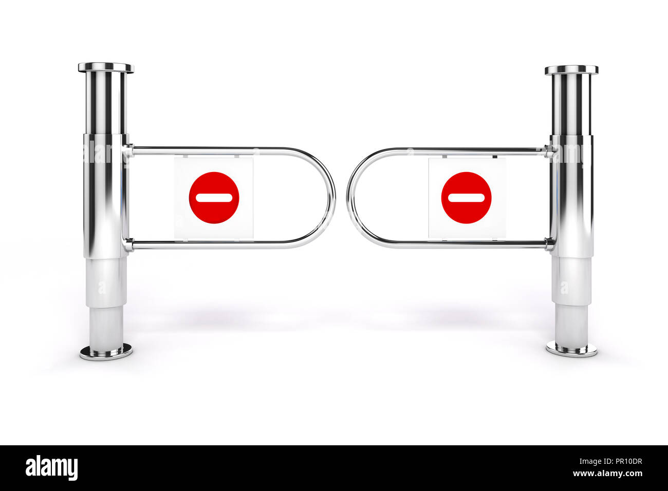 3d msll turnstile with no exit sign on white background Stock Photo