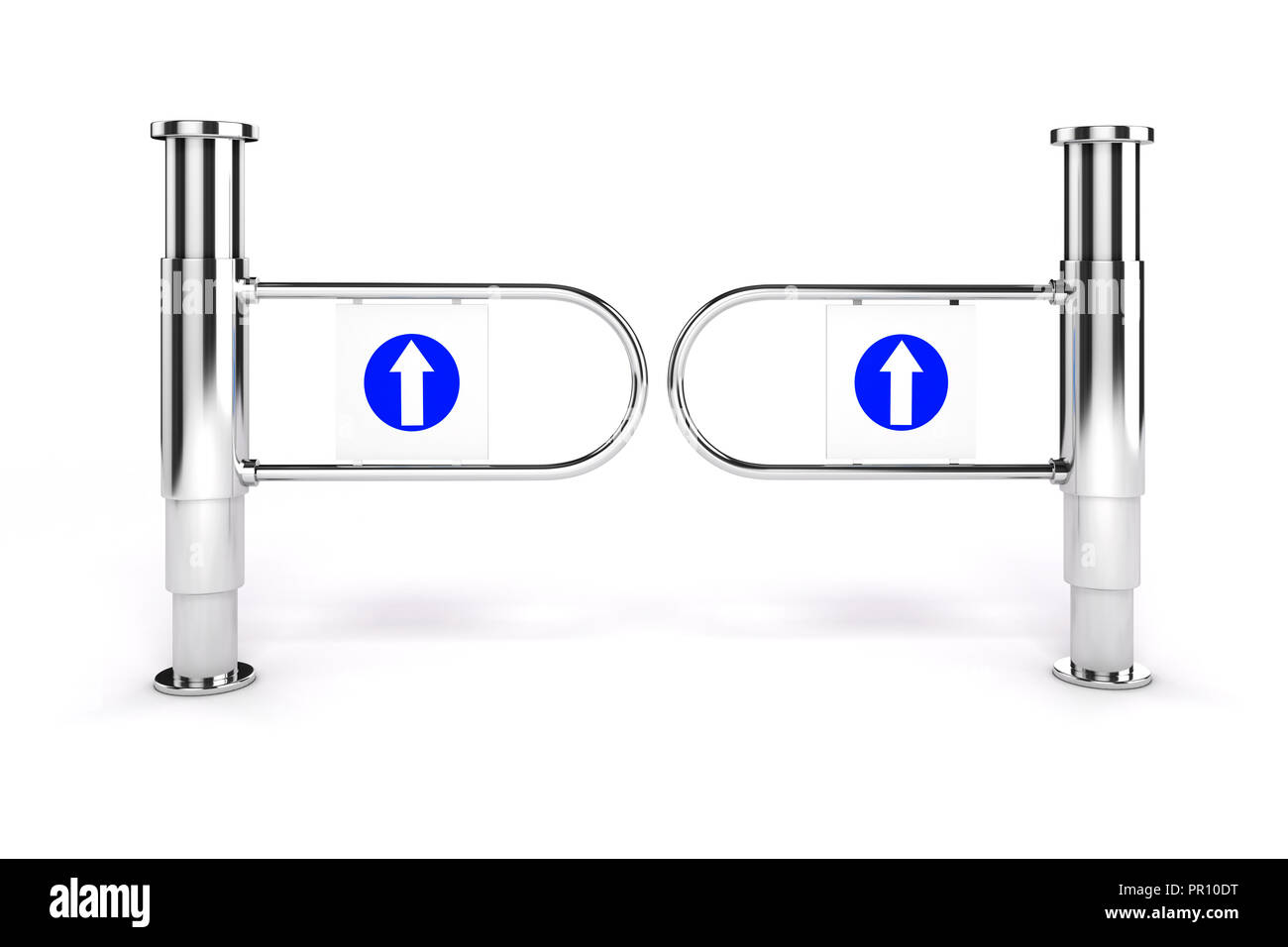 3d shop turnstile entrance with arrow sign, on white background Stock Photo