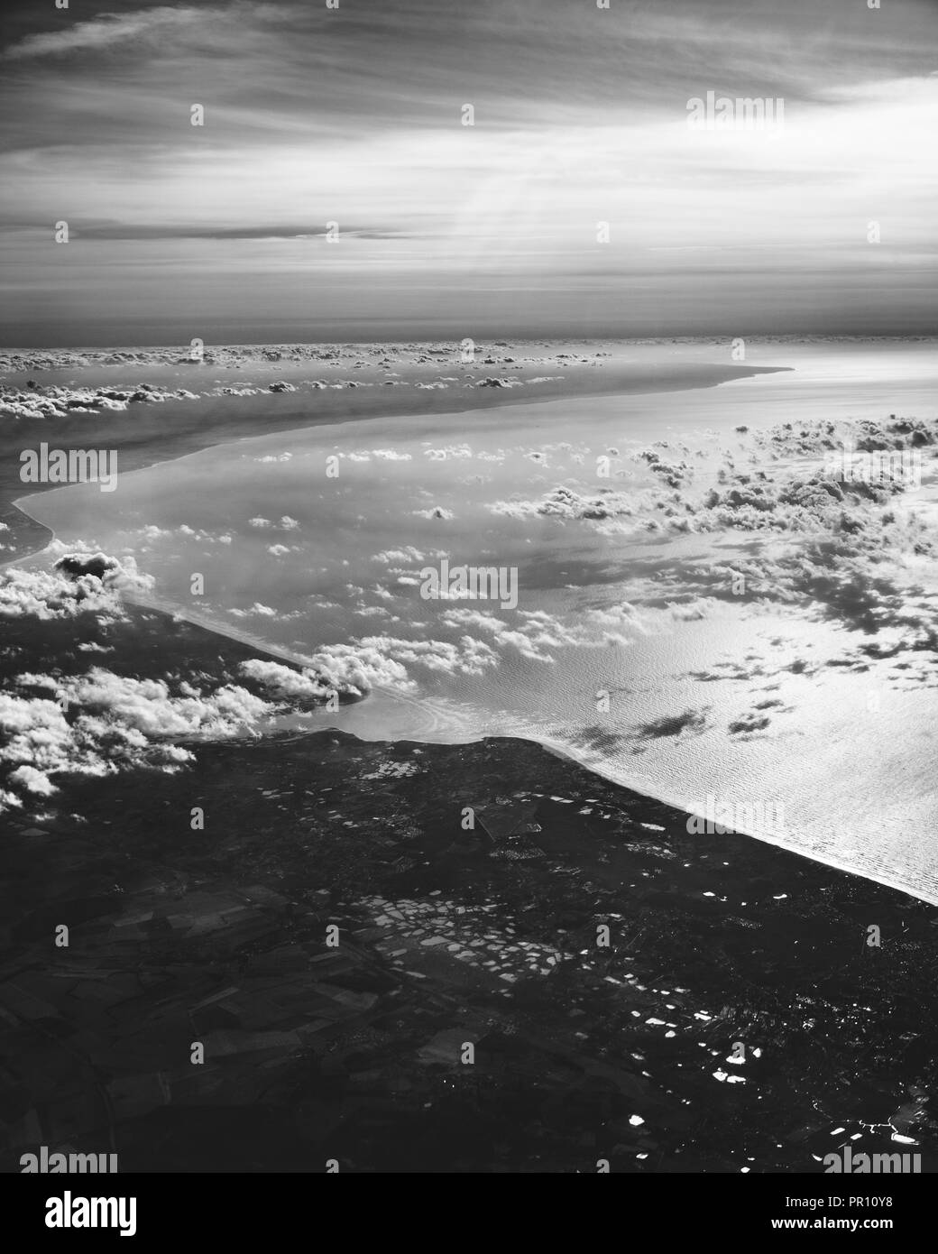 Approaching the Strait of Dover, the narrowest part of the English Channel between France and England. - Stock Image