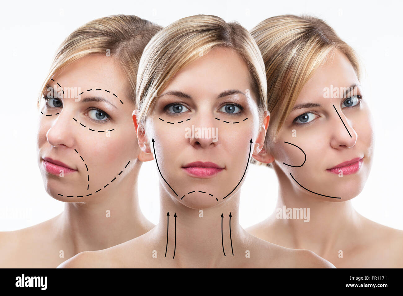 Multiple Exposure Of Pretty Young Woman's Face With Correction Lines Stock Photo