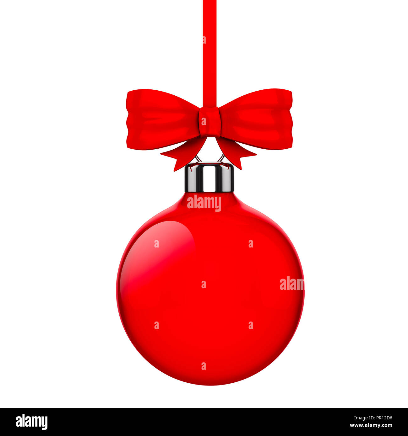 3d Christmas ball ornaments with red ribbon and bows on white background - Stock Image