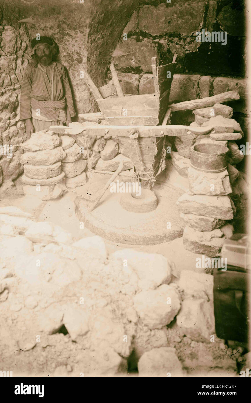 Primitive mill. 1900, Middle East, Israel and/or Palestine - Stock Image