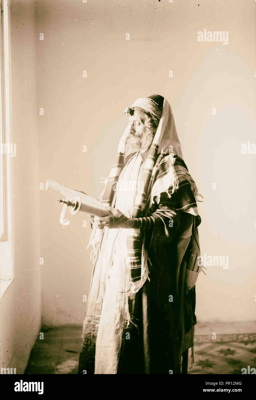Jew arrayed for prayer. 1900, Middle East, Israel - Stock Image