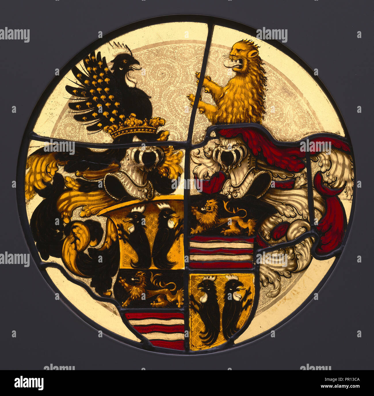 Heraldic Roundel with the Arms of Rummel von Lichtenau; German; Nuremberg, ?, Southern Germany; about 1510 - 1530; Brown oxide - Stock Image