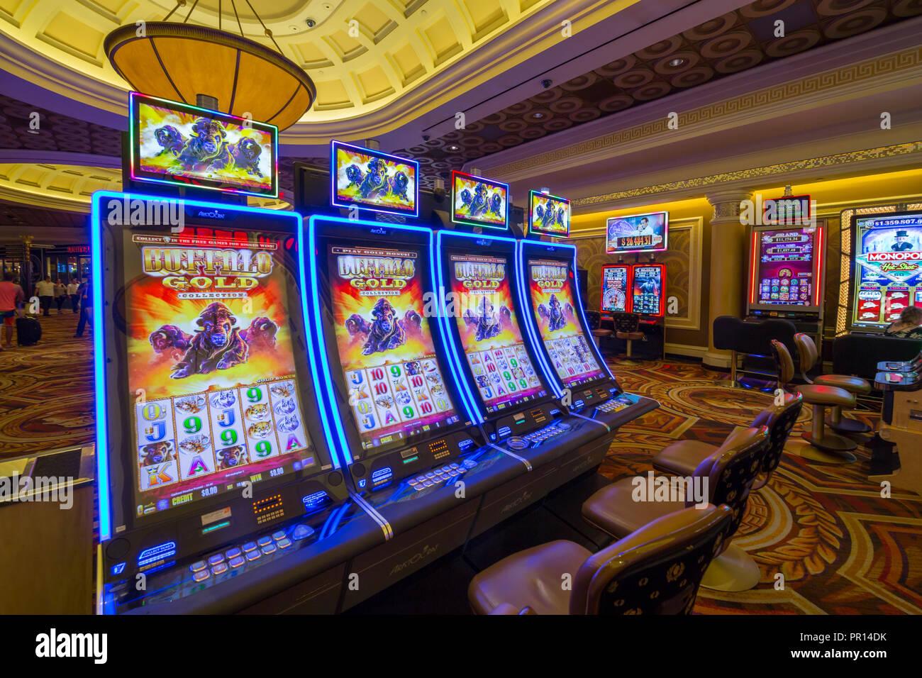 Gambling machines in Caesars Palace Hotel and Casino, Las Vegas, Nevada, United States of America, North America - Stock Image