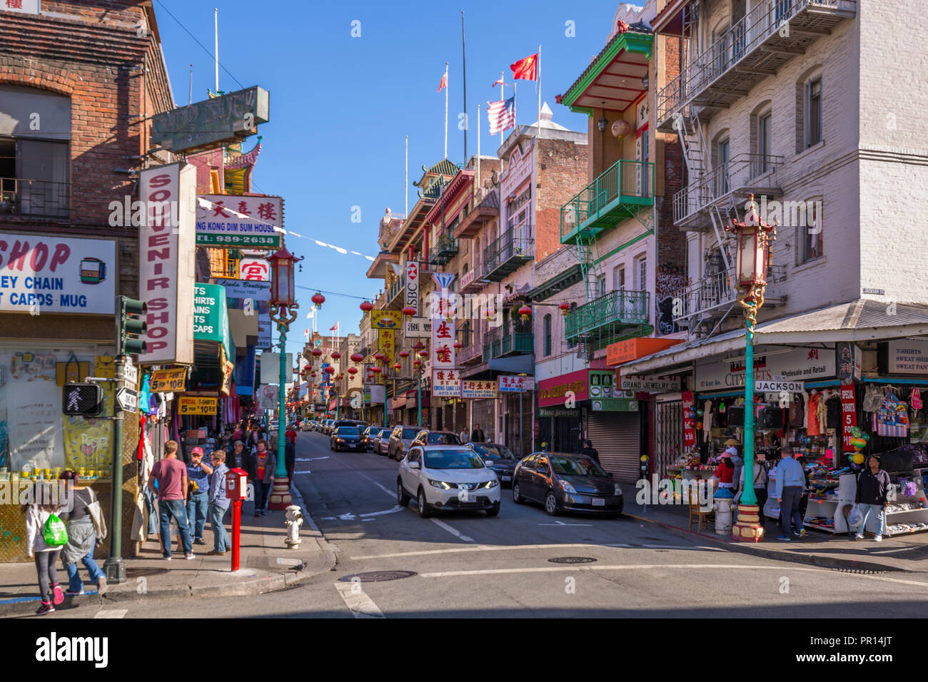 View of busy street in Chinatown, San Francisco, California, United States of America, North America Stock Photo