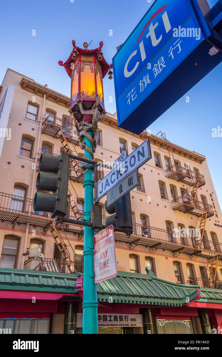 View of ornate lamp post in Chinatown, San Francisco, California, United States of America, North America Stock Photo