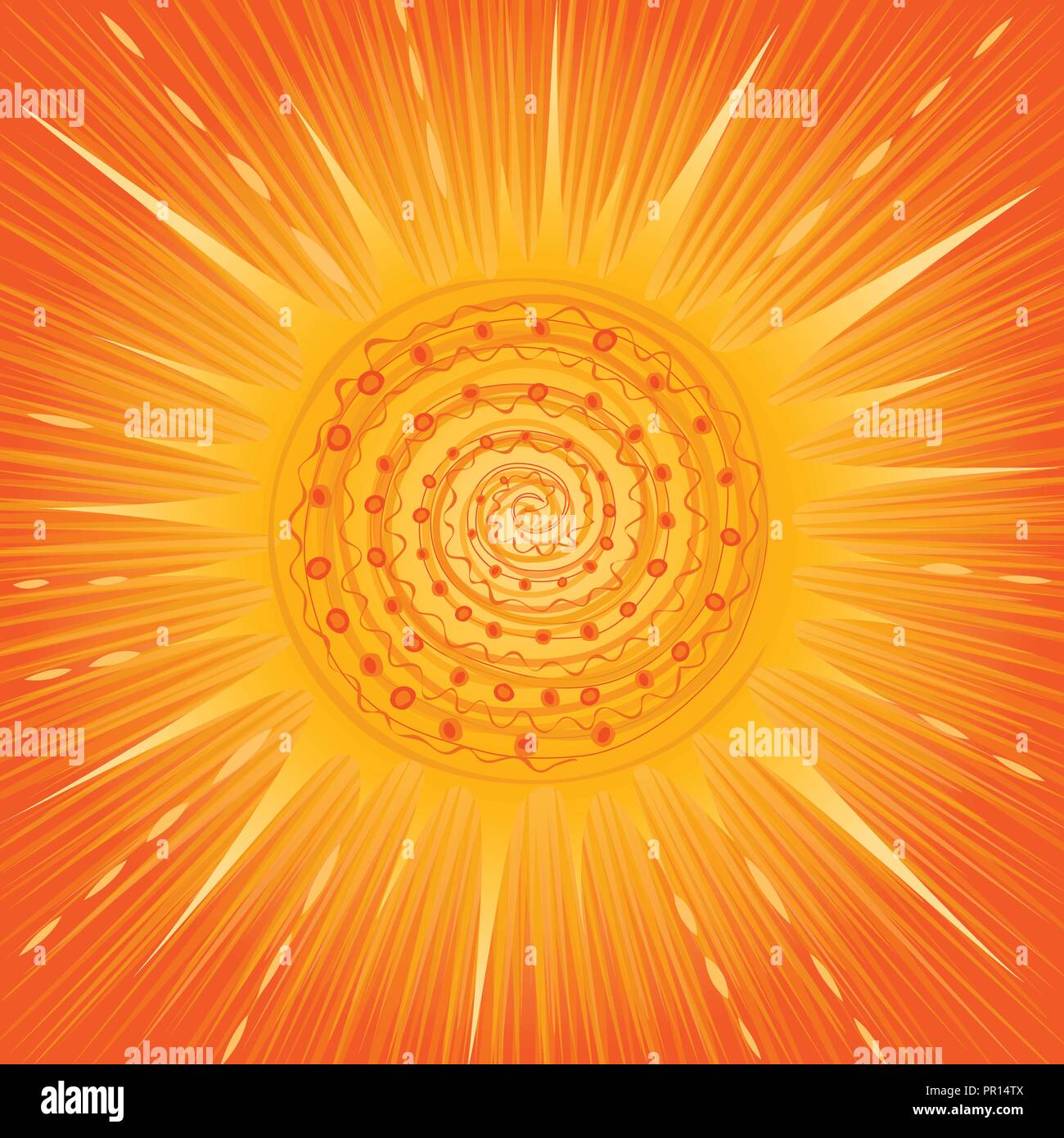 blazing sun in an orange sky stylised illustration - Stock Vector