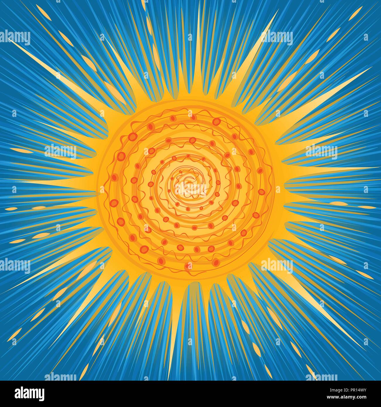 vector stylised shining sun with a blue sky - Stock Vector
