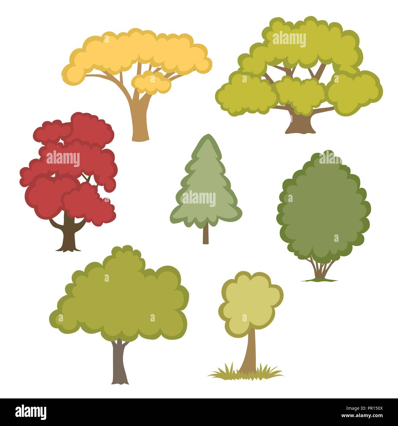 selection of vector trees isolated on a white background - Stock Vector
