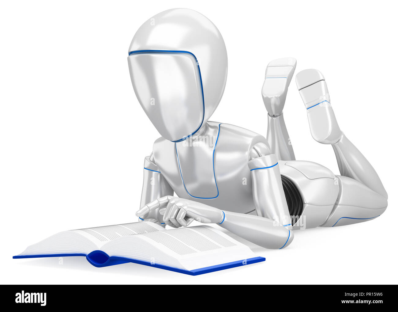 3d futuristic android illustration. Humanoid robot lying reading a book. Isolated white background - Stock Image
