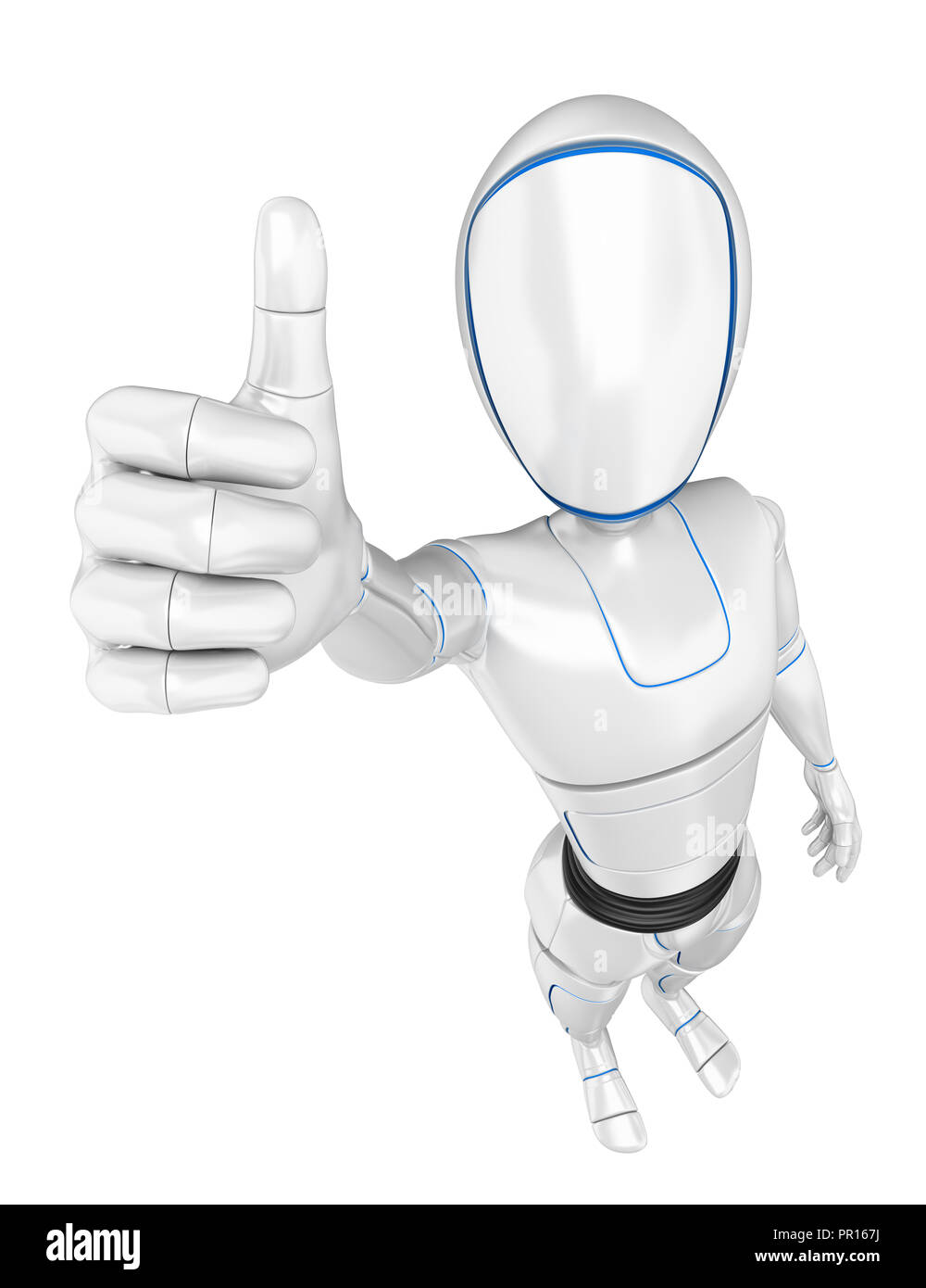 3d futuristic android illustration. Humanoid robot with thumb up. Isolated white background. - Stock Image